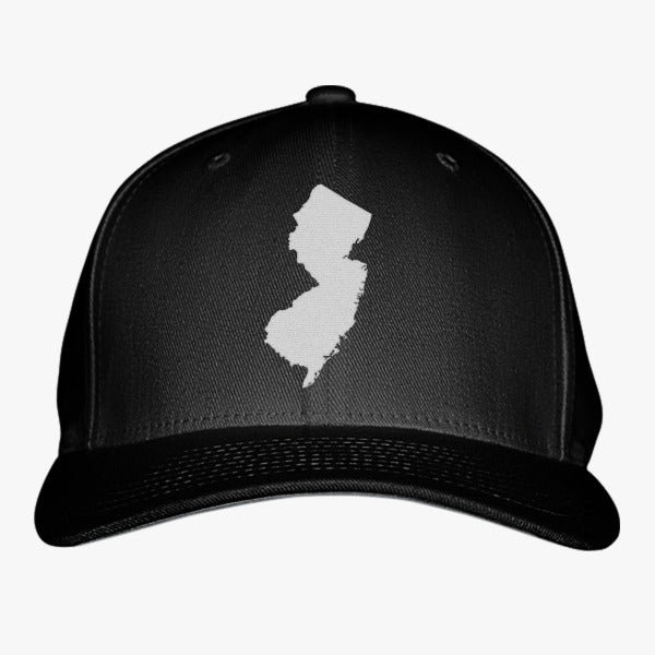 NJ Map Embroidered Baseball Cap