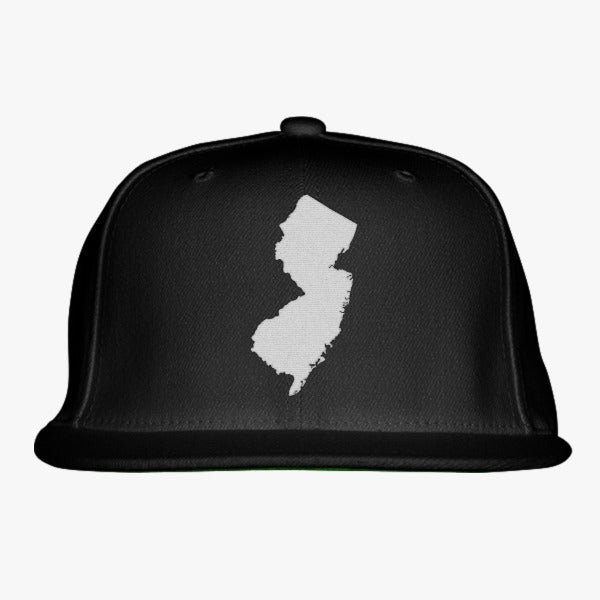 NJ Map Embroidered Snapback Hat