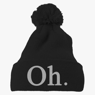 Oh. Embroidered Knit Pom Cap
