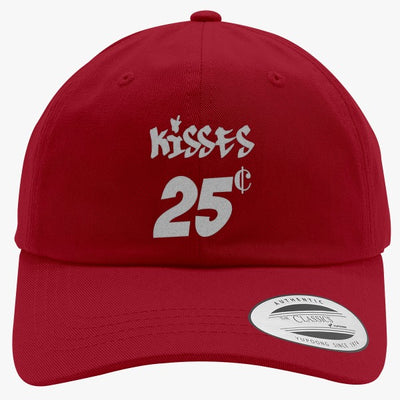 Kisses 25 Cents Embroidered Cotton Twill Hat