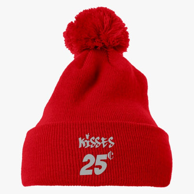 Kisses 25 Cents Embroidered Knit Pom Cap
