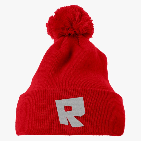 roblox logo embroidered knit pom cap hatsline