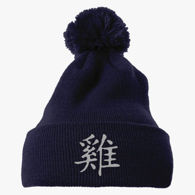 Rooster Embroidered Knit Pom Cap