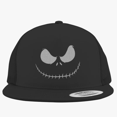 Scary Smile White Embroidered Trucker Hat