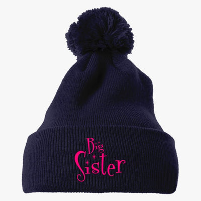 Sibling Gift BIG SISTER Embroidered Knit Pom Cap