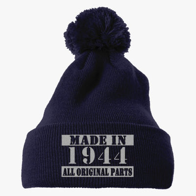 Vintage Made In 1944 2 Embroidered Knit Pom Cap