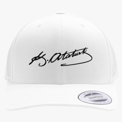 Kemal Ataturk Signature Embroidered Retro Embroidered Trucker Hat