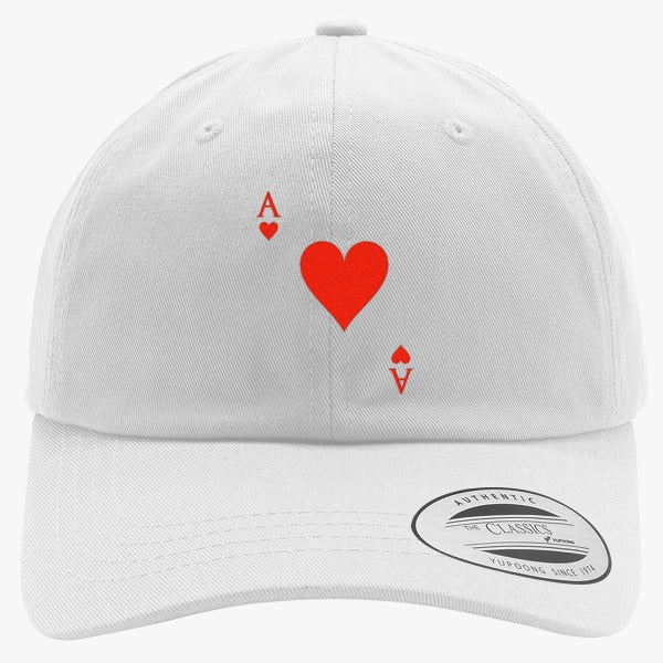 Ace Of Hearts Embroidered Cotton Twill Hat