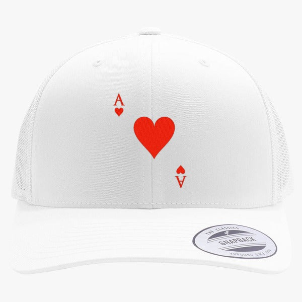 Ace Of Hearts Embroidered Retro Embroidered Trucker Hat