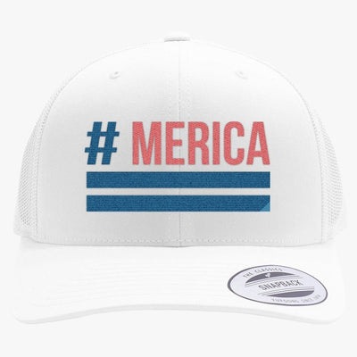 'Merica Embroidered Retro Embroidered Trucker Hat