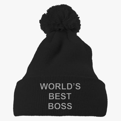 World's Best Boss Embroidered Knit Pom Cap