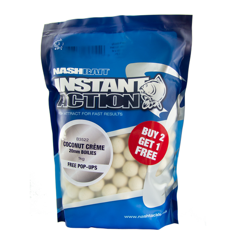 Instant Action Coconut Crème Boilies Carp Angling Fishing