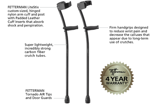 CUSTOM Black Phantom Ultra Lightweight Carbon Fiber Crutches - Thomas Fetterman Inc.