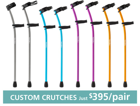 Self-Assembled Euro-Style Aluminum CUSTOM-FITTED Forearm Crutches for Adults