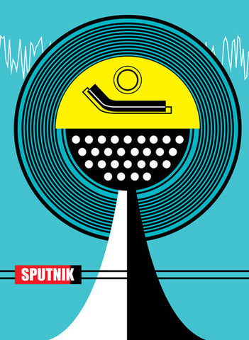 Old School retro record deck art print by Hedvig Desh available from Carnabystreetgallery.co.uk