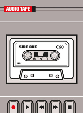 Old School retro cassette tape art print by Hedvig Desh available from Carnabystreetgallery.co.uk