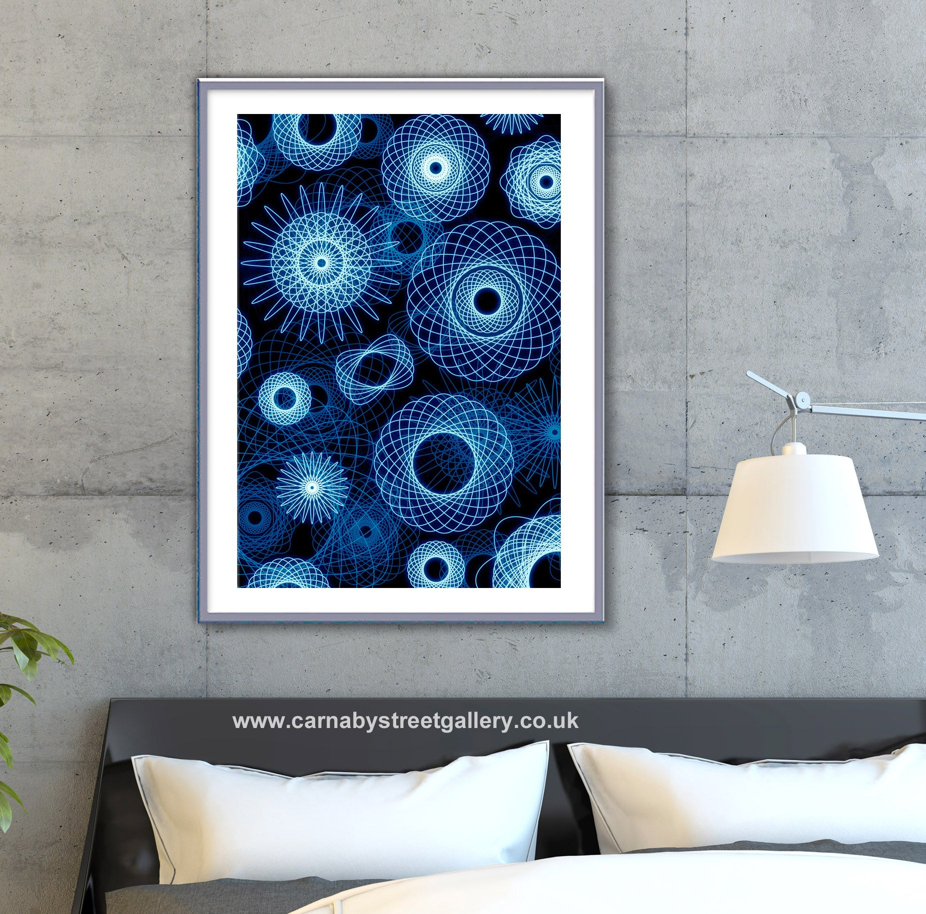 DIG THAT CRAZY SPYROGRAPH! - geometric art print based on the still popular vintage kids drawing set - blue background art print - 'Unframed'
