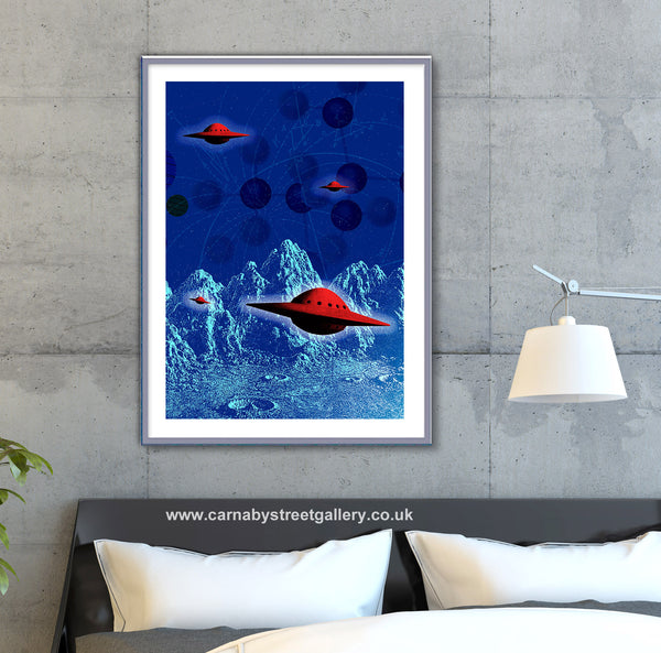 'HOLY FLYING SAUCERS' retro mid century alien invasion UFO foo fighter saucer extraterrestrial close encounters gallery art print - 'Unframed'