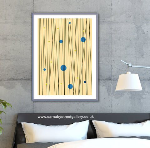 Circles and Lines in mid century cream Scandinavian Minimalism minimalist art print - 'Unframed'
