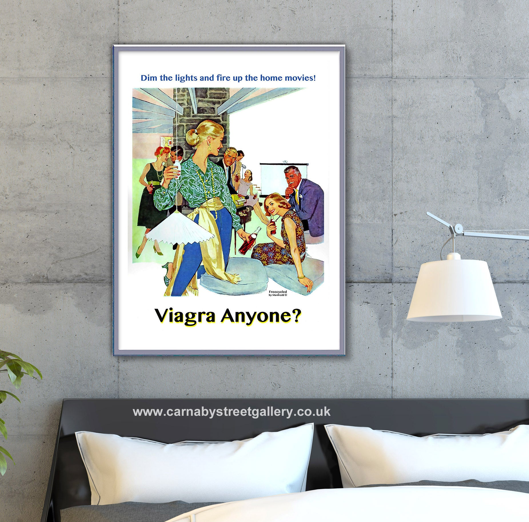 'VIAGRA, ANYONE?' 'Freecycle by retro artist Manfredd' funny humorous mid century party swingers swinging advert advertising poster art print - 'Unframed'