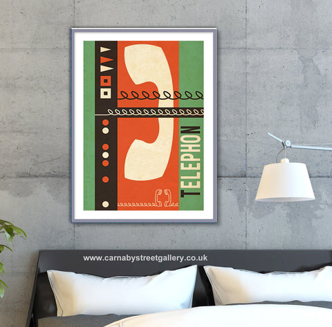 Retro mid century Continental telephone advertising art print - 'Unframed'