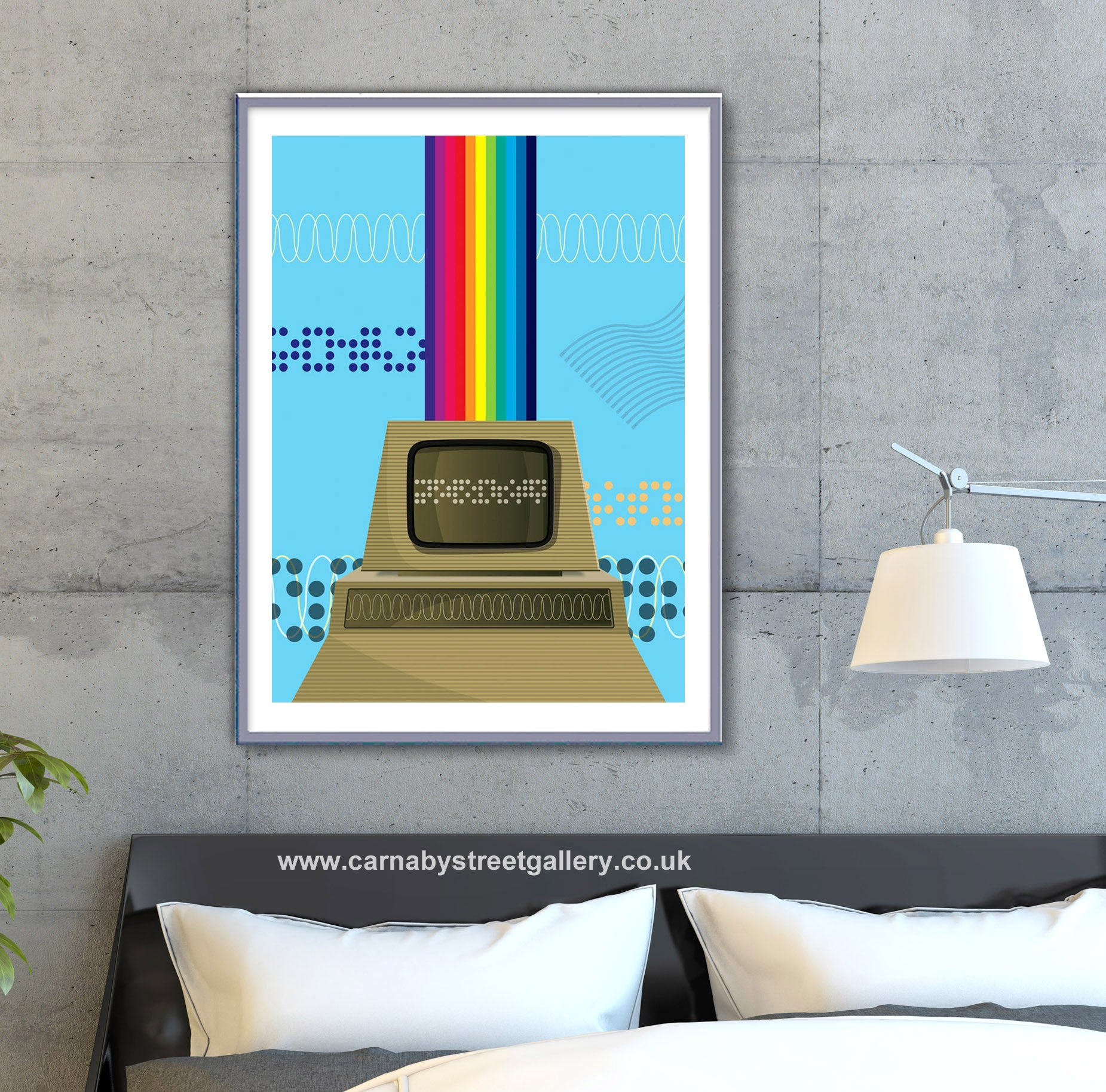'Personal Computing!' retro PET computer display design illustration with rainbow colours in vintage blue gallery art print - 'Unframed'
