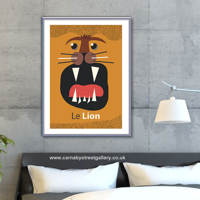 'LE LION' retro mid century big cat illustration wildlife zoo animal African gallery art print - 'Unframed'