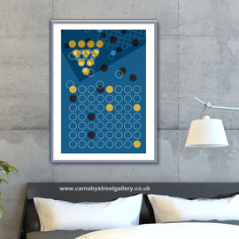'IN SMALL CIRCLES' retro mid century clean Minimalist blue poster gallery art print - 'Unframed'