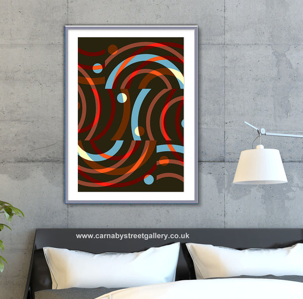 'CURVES TWO' retro geometric mid century pastel structural curves circles gallery wall art print - 'Unframed'