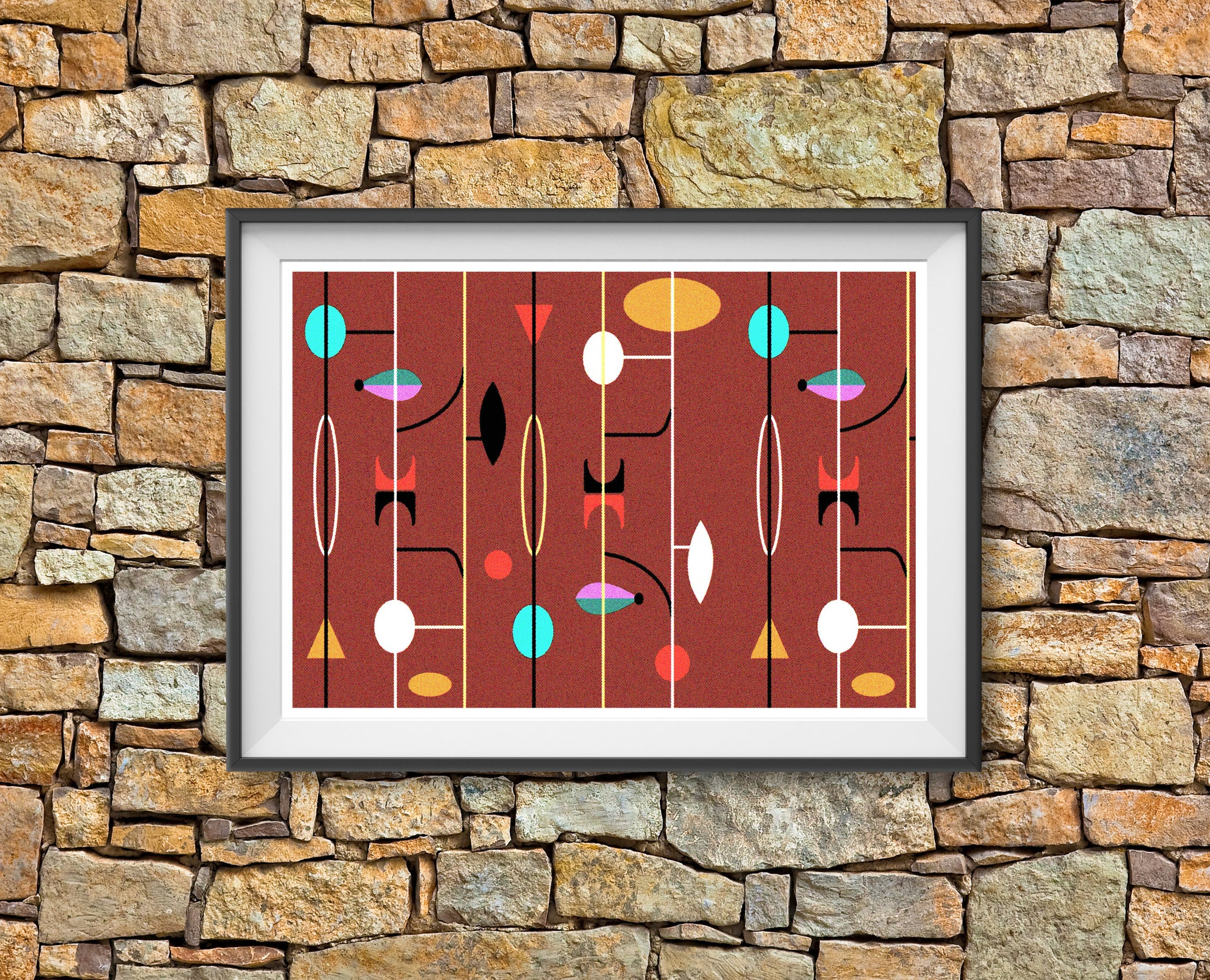 Atomic Geometric - mid century MCM fifties offset pattern print - 'Unframed'