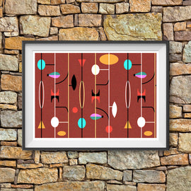 Atomic Geometric - mid century MCM fifties shapes lines textured offset print style gallery art print - 'Unframed'