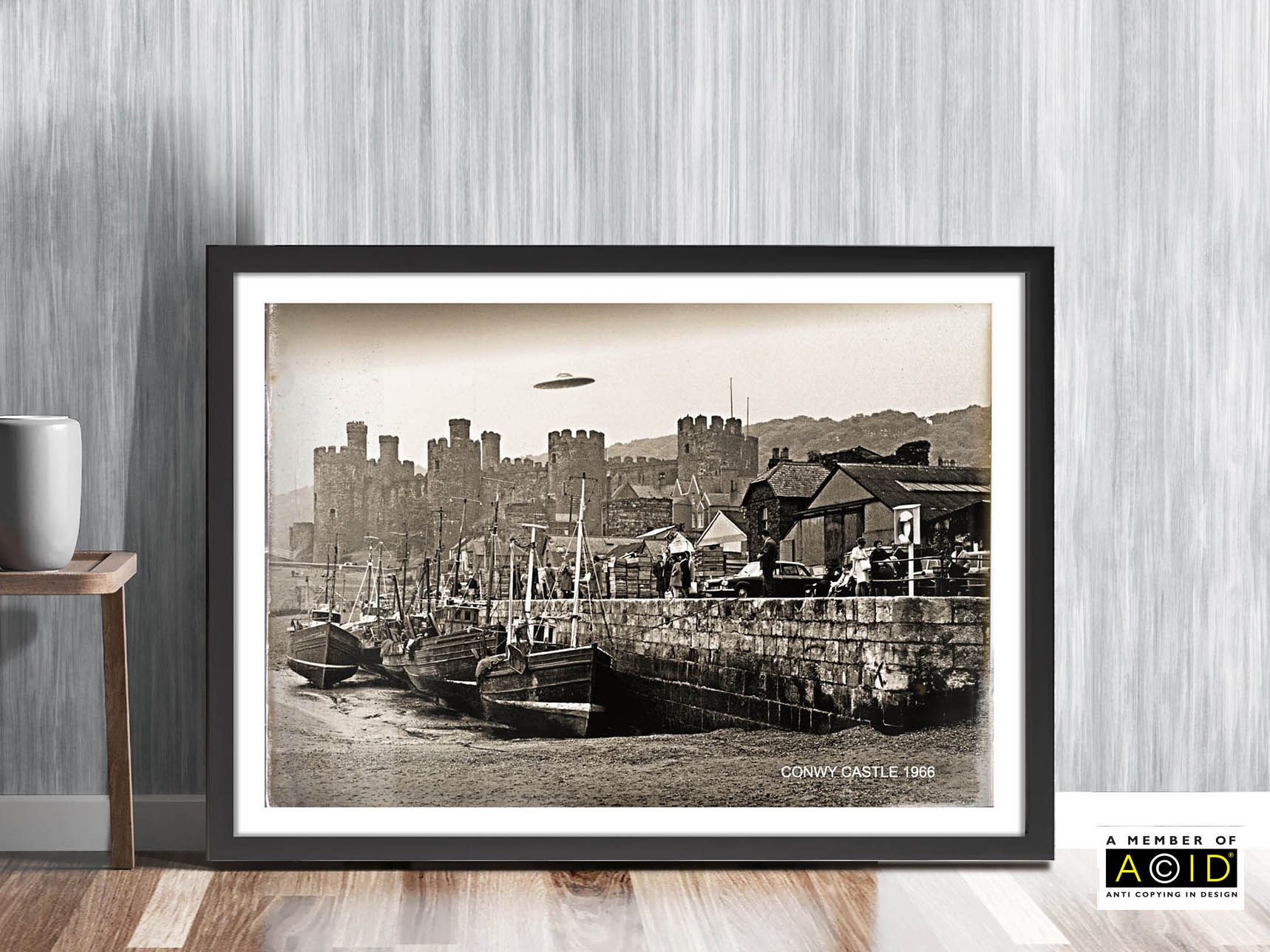 'CONWY CASTLE UFO' flying saucer Wales 1966 Roswell UFO space travel alien world extraterrestrials grays we are not alone gallery art print - 'Unframed'