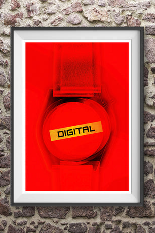DIGITAL! -  Eighties digital watch LED stylised New Wave graphic art poster print - 'Unframed'