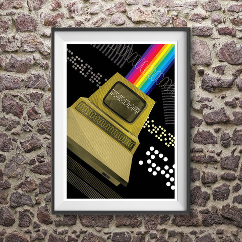 retro personal computer illustration with punched tape and rainbow