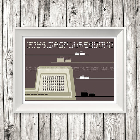 'COMPUTER TERMINAL' retro computer networking illustration digital computer design gallery art print - 'Unframed'