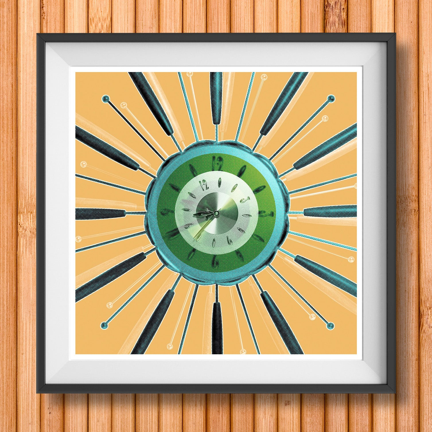 ATOMIC CLOCK mid century vintage wall clock in beige retro esign gallery art print