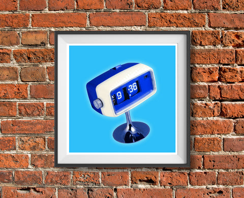 Sixties Clock vintage futuristic mid century art print - 'Unframed' in blue