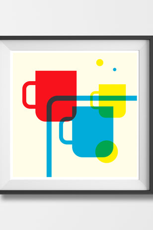 'SCANDI CUPPA' Mid century Scandinavian minimal food and drink design gallery art print - 'Unframed'