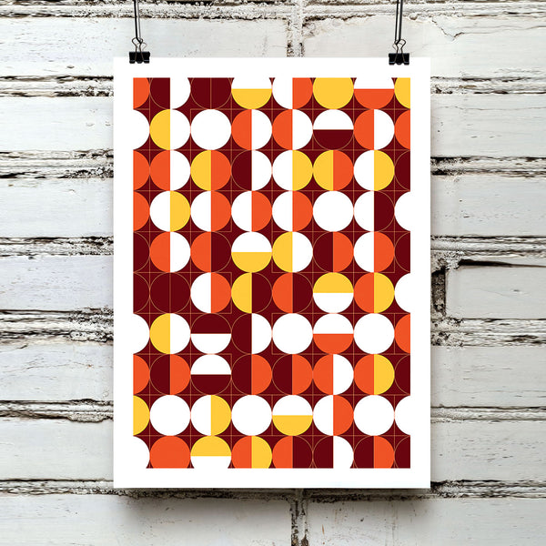 'IN GEOMETRIC CIRCLES' retro mid century sixties brown orange geometric segmented design gallery art print - 'Unframed'