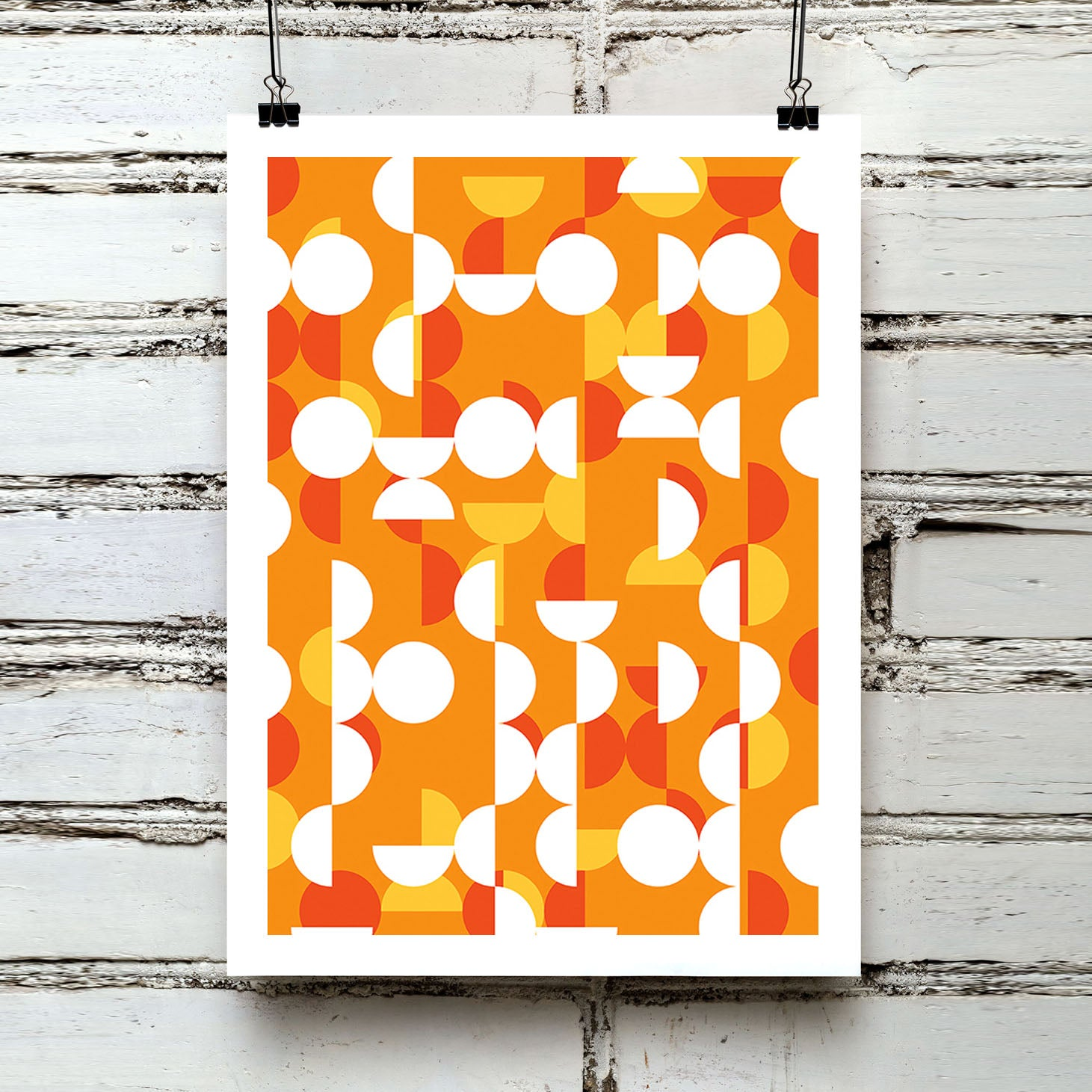 Geometric circles retro mid century sixties red orange art print - 'Unframed'