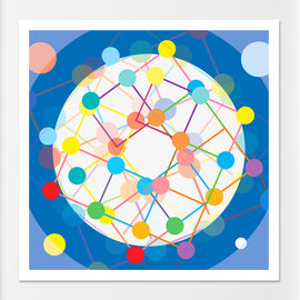 'CONNECT MORE' retro circles sixties geometric Scandi dots and lines design in blue gallery art print - 'Unframed'