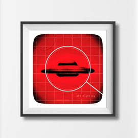 'UFO PRINT' - retro red flying saucer sighting foo fighters extraterrestrial alien invasion disc mid century art print - 'Unframed'