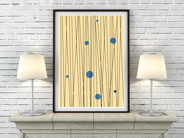 'LINE OF THE TIMES' mid century fawn Scandinavian Minimalism minimalist poster gallery art print - 'Unframed'