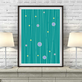 'LINE OF THE TIMES' in green retro mid century Scandinavian Minimalism minimalist poster gallery art print - 'Unframed'