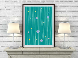 Circles and Lines in green retro mid century Scandinavian Minimalism art print - 'Unframed'