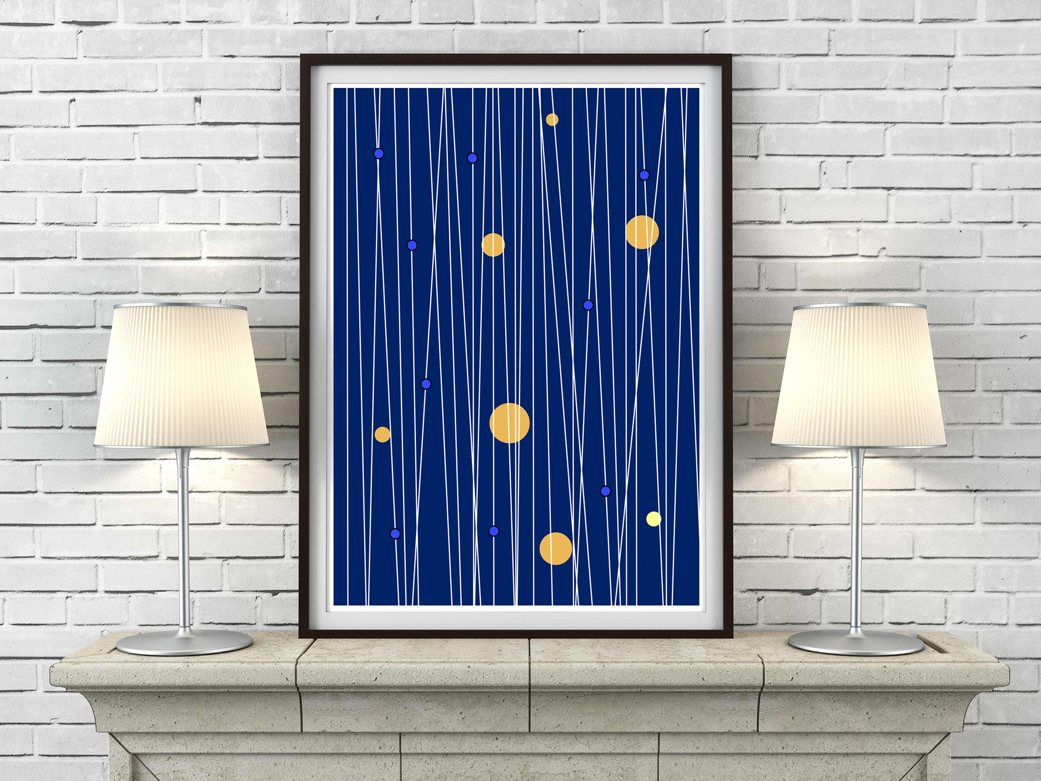 Circles and Lines in midnight blue mid century Scandinavian Minimalism art print - 'Unframed'