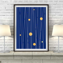 'LINE OF THE TIMES' in midnight blue mid century Scandinavian Minimalism minimalist poster gallery art print - 'Unframed'