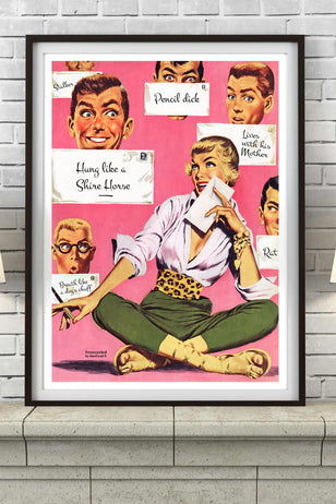 'GUY TROUBLE!' 'Freecycle by retro artist Manfredd' funny humorous mid century boyfriend relationship issues mr right love letters lover meme dating boy poster art print - 'Unframed'