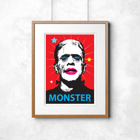 'MONSTER!' - A powerful convention-defying wall print by Pop Art artist ARNE - retro vintage Frankenstein classic horror poster art print - 'Unframed'