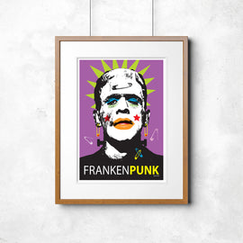 'FRANKENPUNK!' - Convention-defying wall print by Pop Art artist ARNE - retro Frankenstein classic horror Punk Rock Mohican poster art print - 'Unframed'